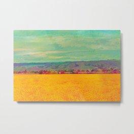 Teal Sky, Indigo Mountains, Mustard Plants, Colorful Houses Metal Print