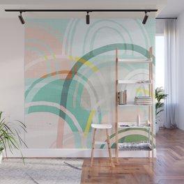 Somewhere - mint & peach Wall Mural