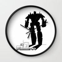 optimus prime Wall Clocks featuring Optimus Prime by offbeatzombie
