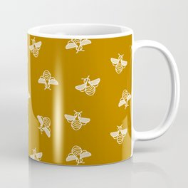 Bee pattern in gold yellow background Coffee Mug