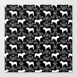 English Bulldog silhouette florals black and white minimal dog breed pattern print gifts bulldogs Canvas Print