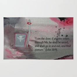 The Door----Religious Abstract Art --- John 10:9 --- by Saribelle Rodriguez Rug