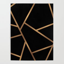 Black and Gold Fragments - Geometric Design Poster