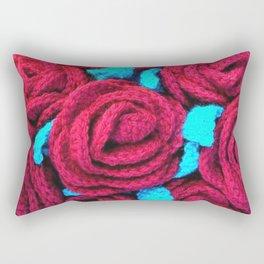 Crocheted Roses Rectangular Pillow