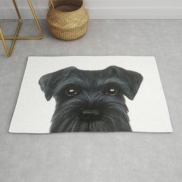 New Black Schnauzer, Dog illustration original painting print Rug