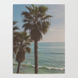 palm tree and ocean. California Vacation Poster