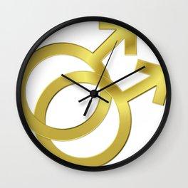 Gay Male Wedding Symbol Wall Clock