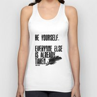 oscar wilde Tank Tops featuring Oscar Wilde: Be Yourself by Danielle Denham