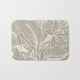 Gray Grey Alabaster Floral Bath Mat