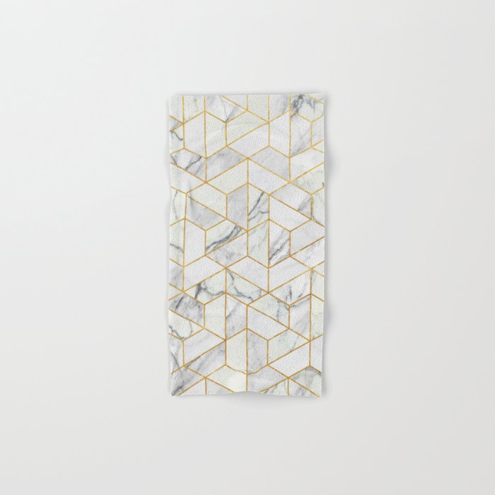 Marble hexagonal pattern Hand & Bath Towel
