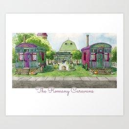 The Romany Caravans - Watercolor Village Art Print