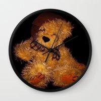 teddy bear Wall Clocks featuring Teddy by Doug McRae