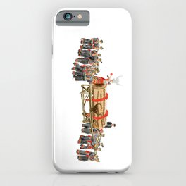 Watercolor Illustration of a group of Miao people in costume playing drum | 苗族鼓藏节 iPhone Case