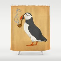 body Shower Curtains featuring Puffin' by Megs stuff