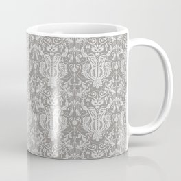 Burlesque Damask Feather Gray Coffee Mug