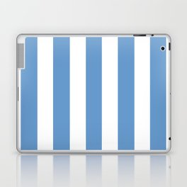 Livid turquoise - solid color - white vertical lines pattern Laptop & iPad Skin