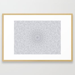 Most Detailed Mandala! Cool Gray White Color Intricate Detail Ethnic Mandalas Zentangle Maze Pattern Framed Art Print