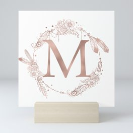 Letter M Rose Gold Pink Initial Monogram Mini Art Print