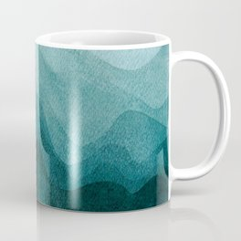 Sunrise in the mountains, dawn, teal, abstract watercolor Coffee Mug