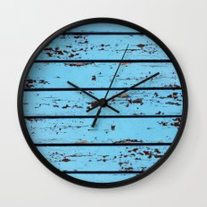 Blue Wooden Planks Wall Clock