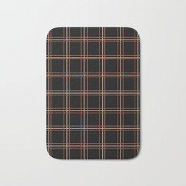 ARREST multi colour lines plaid pattern on black Bath Mat
