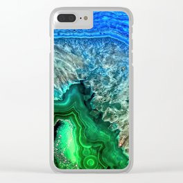 Turquoise Green Agate Mineral Gemstone Clear iPhone Case