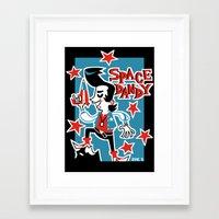 space dandy Framed Art Prints featuring Retro Space Dandy by ZoeStanleyArts