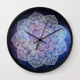 Lace Mandala - White on Galaxy Wall Clock