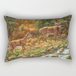 Deer and Waterfall Rectangular Pillow