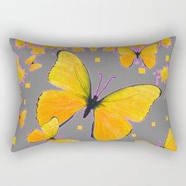 YELLOW BUTTERFLIES FLORAL PINK-GREY ART Rectangular Pillow