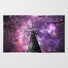 Wintry Trees Pink Purple Galaxy Skies Rug