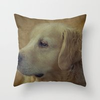 golden retriever Throw Pillows featuring Golden Retriever by mexi-photos