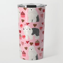 Old English Sheepdog valentines day hearts cupcakes pattern pet portrait dog art gifts love Travel Mug