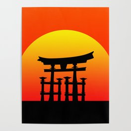 Sunset and Torii in Japan Poster