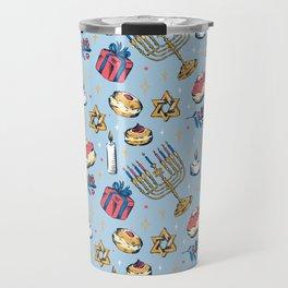 Hanukkah Festival of Lights Pattern Gift Travel Mug