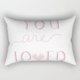 You are loved baby footprint pink Rectangular Pillow