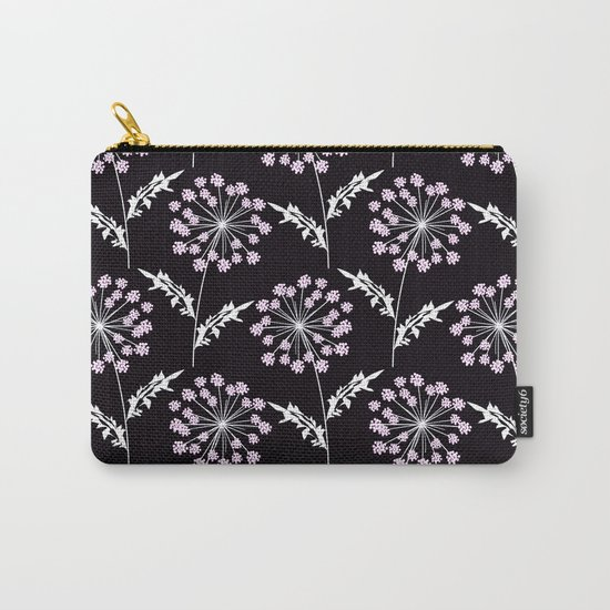 Fishnet pink flowers on a black background. Carry-All Pouch