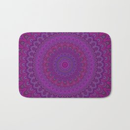 Purple flower mandala Bath Mat