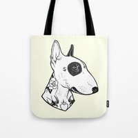 bull terrier Tote Bags featuring Bull Terrier dog Tattooed by PaperTigress