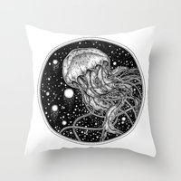jellyfish Throw Pillows featuring Jellyfish by Corinne Elyse