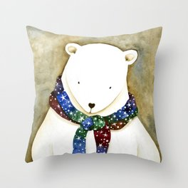 Polar Bear Portrait, Starry Scarf Throw Pillow
