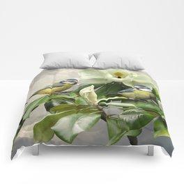 Blue Tits in Magnolia Tree Comforters