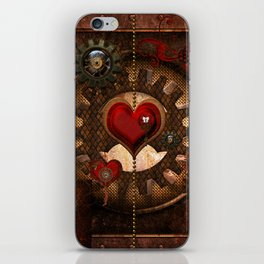 Steampunk, awesome steampunk heart iPhone Skin