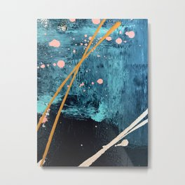 Poseidon: a bright, minimal abstract in blues, pink, orange, and white Metal Print