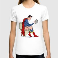 toilet T-shirts featuring Superhero On Toilet by WyattDesign