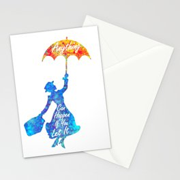 Anything Can Happen If You Let It - Mary Poppins Quote - colorful watercolor splatter Stationery Cards