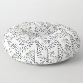 Natural Olive Leaf Berry Birds on Branch Floor Pillow