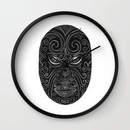 Maori Mask Scratchboard Wall Clock