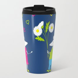 pair of white enamored mouses Travel Mug