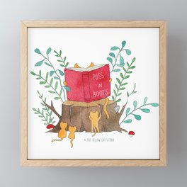 Cats reading in the forest - Puss in Boots - Watercolor illustration Framed Mini Art Print